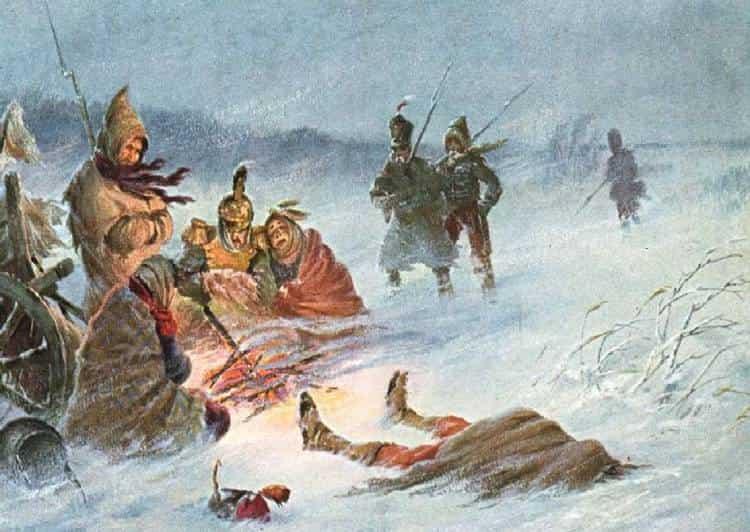 Наполеон Бонапарт и оступление его армии из России в сильный мороз